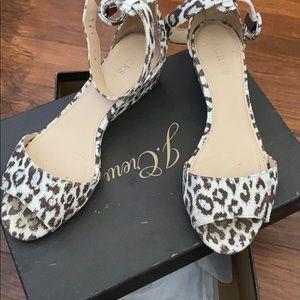 Jcrew Leopard print wedge sandal size 6 1/2